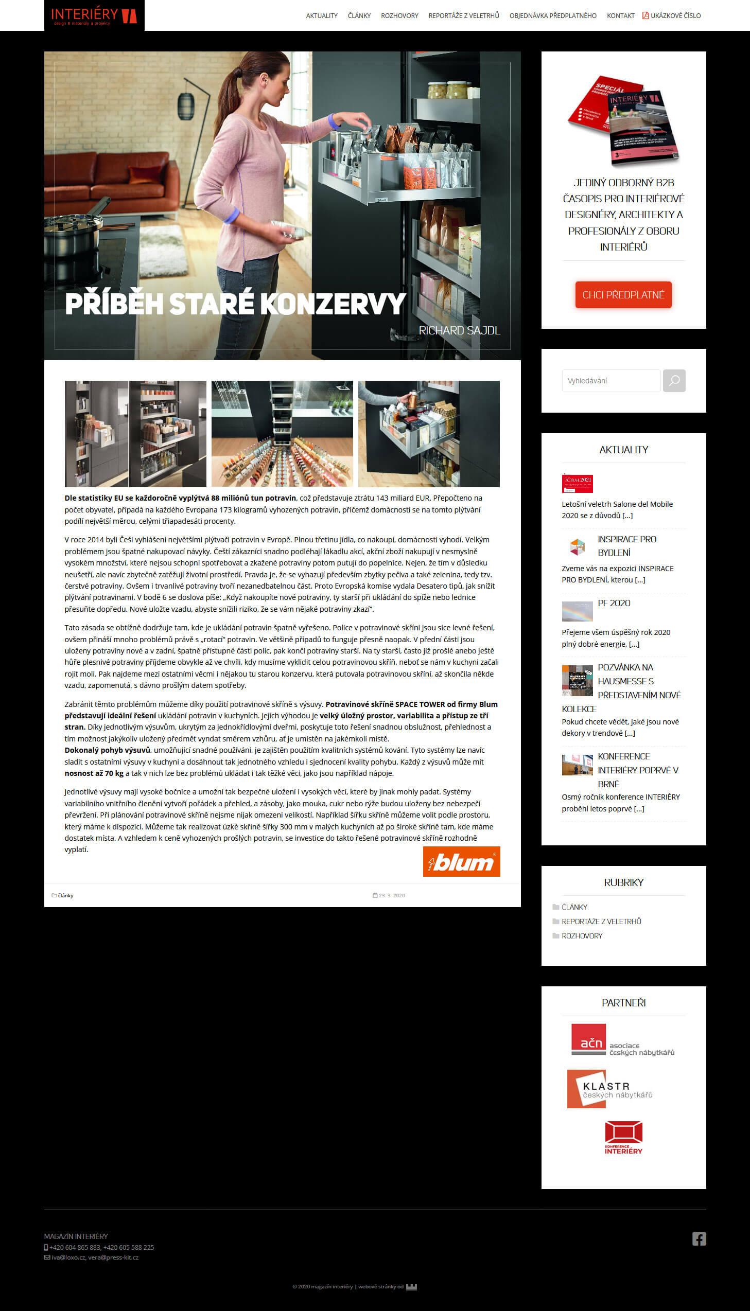 tvorba stránek časopis interiéry